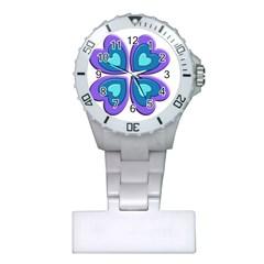 Light Blue Heart Images Plastic Nurses Watch