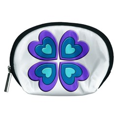 Light Blue Heart Images Accessory Pouches (medium)