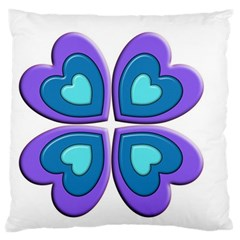 Light Blue Heart Images Large Flano Cushion Case (two Sides)
