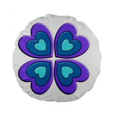 Light Blue Heart Images Standard 15  Premium Flano Round Cushions