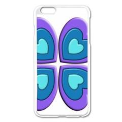 Light Blue Heart Images Apple Iphone 6 Plus/6s Plus Enamel White Case