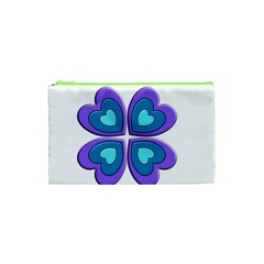 Light Blue Heart Images Cosmetic Bag (xs)