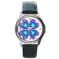 Light Blue Heart Images Round Metal Watch