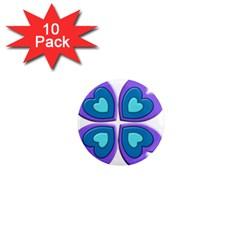 Light Blue Heart Images 1  Mini Magnet (10 Pack)