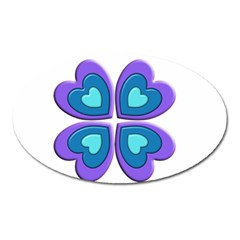 Light Blue Heart Images Oval Magnet