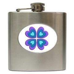 Light Blue Heart Images Hip Flask (6 oz)