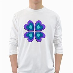 Light Blue Heart Images White Long Sleeve T Shirts