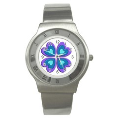 Light Blue Heart Images Stainless Steel Watch