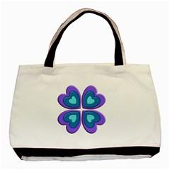 Light Blue Heart Images Basic Tote Bag (two Sides)
