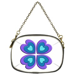 Light Blue Heart Images Chain Purses (one Side)