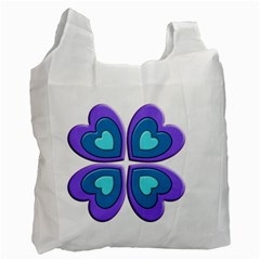 Light Blue Heart Images Recycle Bag (two Side)