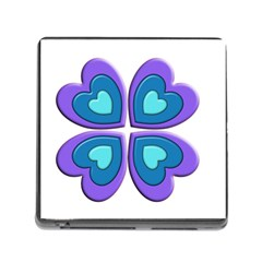 Light Blue Heart Images Memory Card Reader (Square)