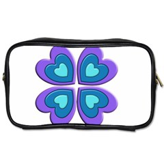 Light Blue Heart Images Toiletries Bags 2 Side