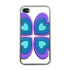 Light Blue Heart Images Apple Iphone 4 Case (clear)