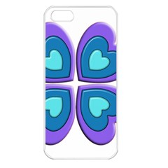 Light Blue Heart Images Apple Iphone 5 Seamless Case (white)