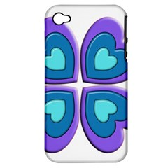 Light Blue Heart Images Apple Iphone 4/4s Hardshell Case (pc+silicone)