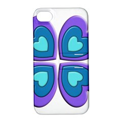 Light Blue Heart Images Apple Iphone 4/4s Hardshell Case With Stand
