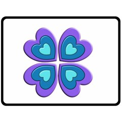 Light Blue Heart Images Double Sided Fleece Blanket (large)