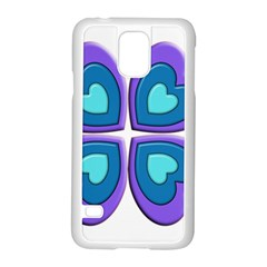 Light Blue Heart Images Samsung Galaxy S5 Case (White)