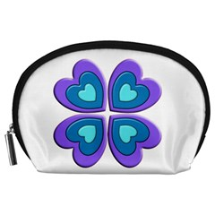Light Blue Heart Images Accessory Pouches (large)