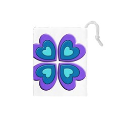 Light Blue Heart Images Drawstring Pouches (small)