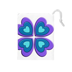Light Blue Heart Images Drawstring Pouches (medium)