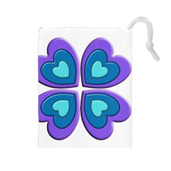 Light Blue Heart Images Drawstring Pouches (large)
