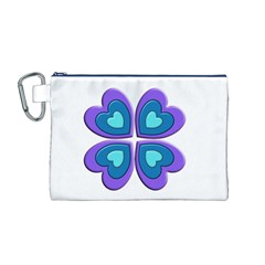 Light Blue Heart Images Canvas Cosmetic Bag (m)