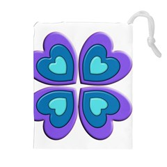Light Blue Heart Images Drawstring Pouches (extra Large)