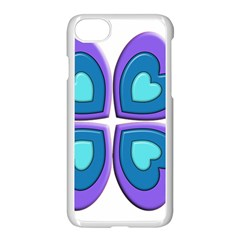 Light Blue Heart Images Apple Iphone 7 Seamless Case (white)
