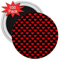 Love Pattern Hearts Background 3  Magnets (100 Pack)