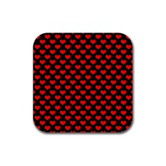 Love Pattern Hearts Background Rubber Square Coaster (4 Pack)