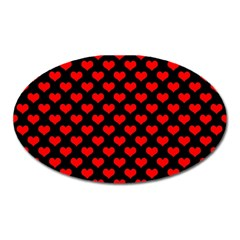 Love Pattern Hearts Background Oval Magnet