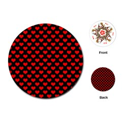 Love Pattern Hearts Background Playing Cards (round)