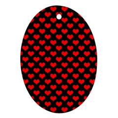 Love Pattern Hearts Background Oval Ornament (two Sides)