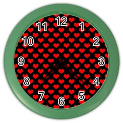 Love Pattern Hearts Background Color Wall Clocks