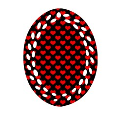 Love Pattern Hearts Background Oval Filigree Ornament (two Sides)