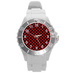 Love Pattern Hearts Background Round Plastic Sport Watch (l)