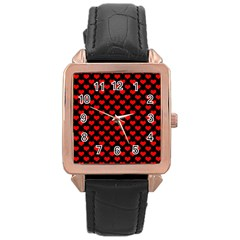 Love Pattern Hearts Background Rose Gold Leather Watch
