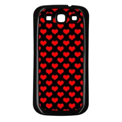Love Pattern Hearts Background Samsung Galaxy S3 Back Case (black)