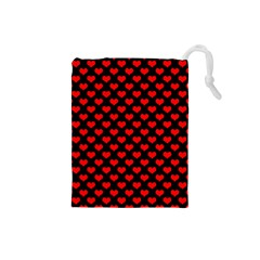 Love Pattern Hearts Background Drawstring Pouches (small)