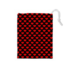 Love Pattern Hearts Background Drawstring Pouches (medium)