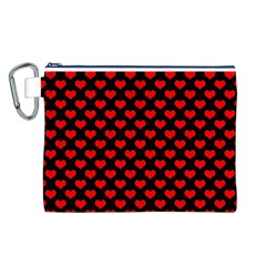 Love Pattern Hearts Background Canvas Cosmetic Bag (l)