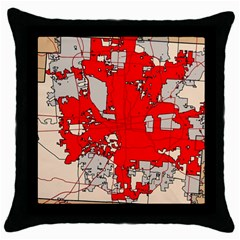 Map Of Franklin County Ohio Highlighting Columbus Throw Pillow Case (black)
