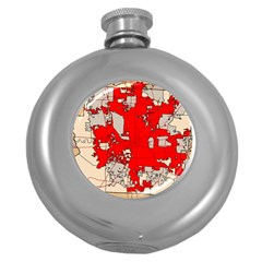 Map Of Franklin County Ohio Highlighting Columbus Round Hip Flask (5 Oz)