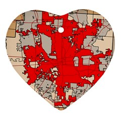 Map Of Franklin County Ohio Highlighting Columbus Heart Ornament (two Sides)