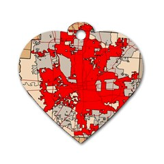 Map Of Franklin County Ohio Highlighting Columbus Dog Tag Heart (one Side)