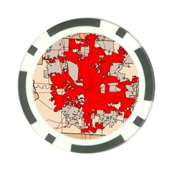 Map Of Franklin County Ohio Highlighting Columbus Poker Chip Card Guard (10 Pack)