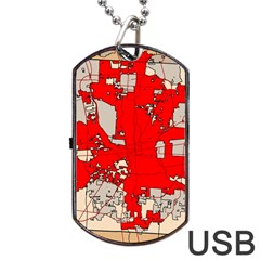 Map Of Franklin County Ohio Highlighting Columbus Dog Tag Usb Flash (one Side)