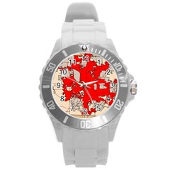 Map Of Franklin County Ohio Highlighting Columbus Round Plastic Sport Watch (l)